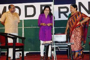 Mr. Dominic, Mrs. Lilly Dominic and Smt. Shobha Vijayan in the stage-play by Vijayan