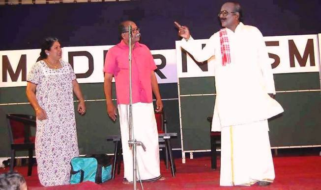 Sri. Vijayan Mannoth in his own stage-play, Modernism