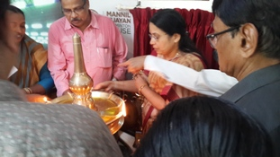 Lighting the lamp by Smt. Rajarajeswari Vijayan