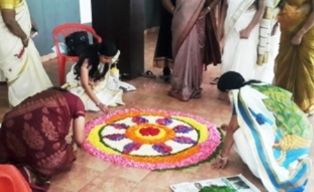 Pookkalam in the making