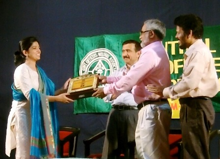 Ms Chaithra Teresa John being felicitated by Cegowac
