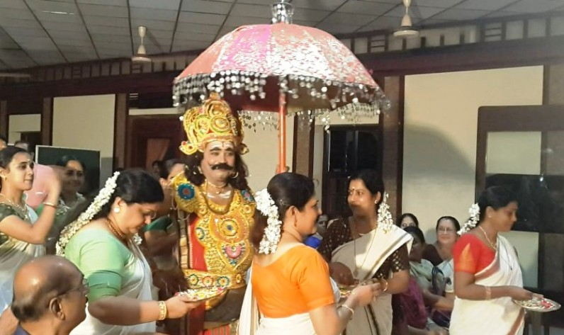 Maveli being received with Thalapoli